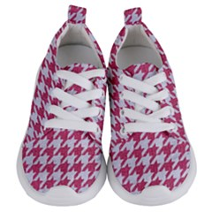 Houndstooth1 White Marble & Pink Denim Kids  Lightweight Sports Shoes