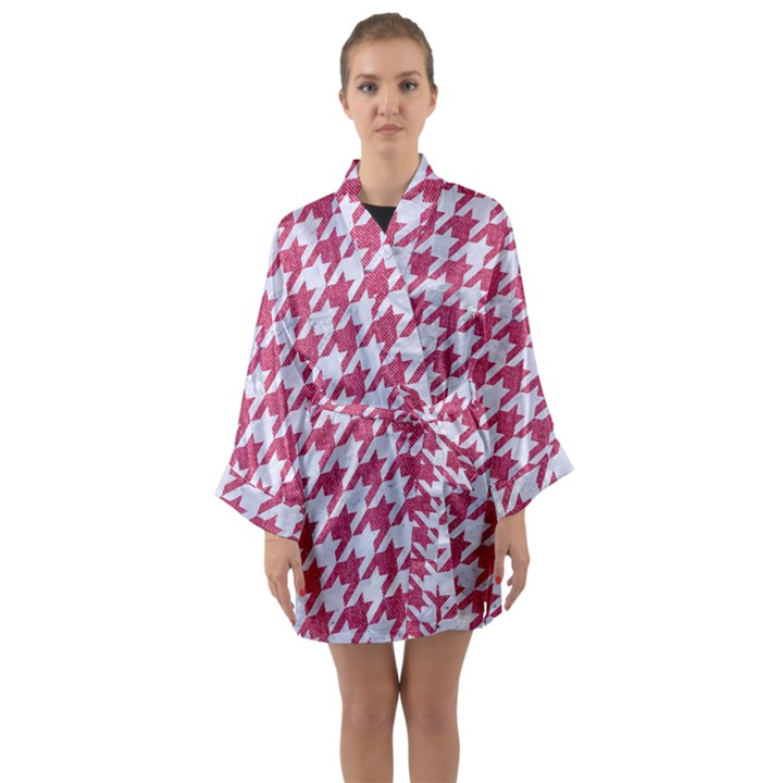 HOUNDSTOOTH1 WHITE MARBLE & PINK DENIM Long Sleeve Kimono Robe