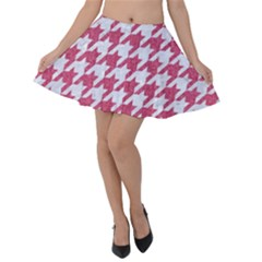 HOUNDSTOOTH1 WHITE MARBLE & PINK DENIM Velvet Skater Skirt