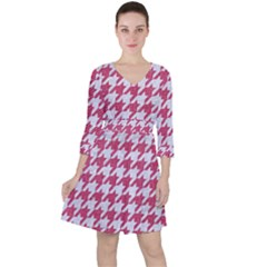 Houndstooth1 White Marble & Pink Denim Ruffle Dress