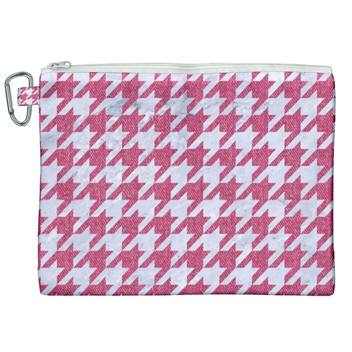 HOUNDSTOOTH1 WHITE MARBLE & PINK DENIM Canvas Cosmetic Bag (XXL)