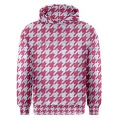 Houndstooth1 White Marble & Pink Denim Men s Overhead Hoodie by trendistuff
