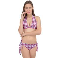 HOUNDSTOOTH1 WHITE MARBLE & PINK DENIM Tie It Up Bikini Set