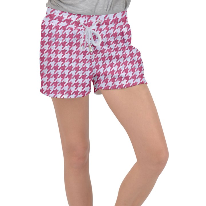 HOUNDSTOOTH1 WHITE MARBLE & PINK DENIM Women s Velour Lounge Shorts