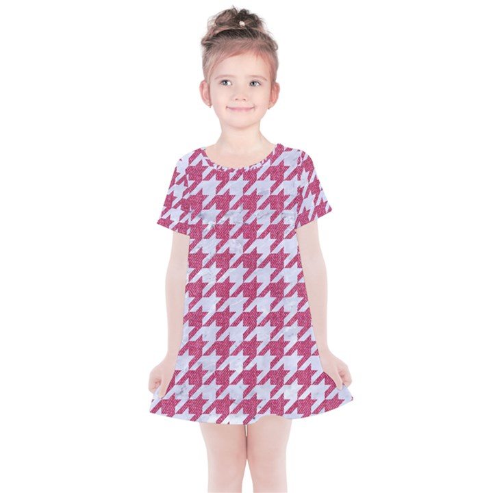 HOUNDSTOOTH1 WHITE MARBLE & PINK DENIM Kids  Simple Cotton Dress