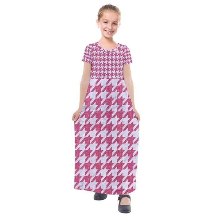 HOUNDSTOOTH1 WHITE MARBLE & PINK DENIM Kids  Short Sleeve Maxi Dress