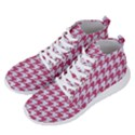 HOUNDSTOOTH1 WHITE MARBLE & PINK DENIM Men s Lightweight High Top Sneakers View2