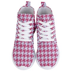 Houndstooth1 White Marble & Pink Denim Women s Lightweight High Top Sneakers