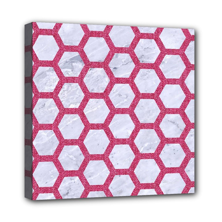 HEXAGON2 WHITE MARBLE & PINK DENIM (R) Mini Canvas 8  x 8