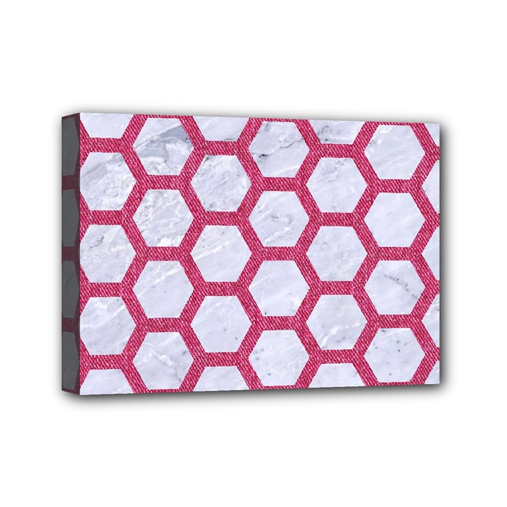 HEXAGON2 WHITE MARBLE & PINK DENIM (R) Mini Canvas 7  x 5
