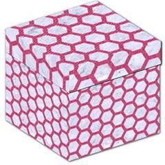 HEXAGON2 WHITE MARBLE & PINK DENIM (R) Storage Stool 12