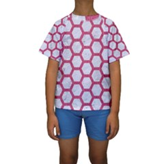 Hexagon2 White Marble & Pink Denim (r) Kids  Short Sleeve Swimwear