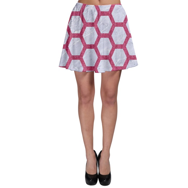 HEXAGON2 WHITE MARBLE & PINK DENIM (R) Skater Skirt