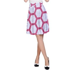HEXAGON2 WHITE MARBLE & PINK DENIM (R) A-Line Skirt