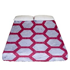 Hexagon2 White Marble & Pink Denim (r) Fitted Sheet (queen Size) by trendistuff