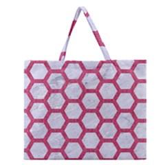 HEXAGON2 WHITE MARBLE & PINK DENIM (R) Zipper Large Tote Bag