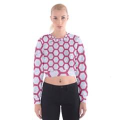 HEXAGON2 WHITE MARBLE & PINK DENIM (R) Cropped Sweatshirt