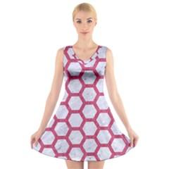 HEXAGON2 WHITE MARBLE & PINK DENIM (R) V-Neck Sleeveless Dress