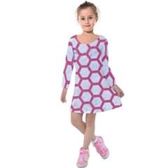 HEXAGON2 WHITE MARBLE & PINK DENIM (R) Kids  Long Sleeve Velvet Dress