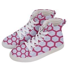 HEXAGON2 WHITE MARBLE & PINK DENIM (R) Women s Hi-Top Skate Sneakers