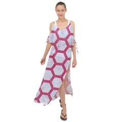 Hexagon2 White Marble & Pink Denim (r) Maxi Chiffon Cover Up Dress by trendistuff