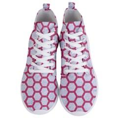 HEXAGON2 WHITE MARBLE & PINK DENIM (R) Men s Lightweight High Top Sneakers