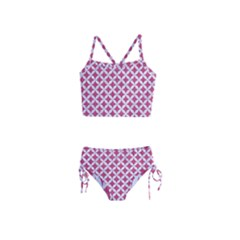 Circles3 White Marble & Pink Denim Girls  Tankini Swimsuit