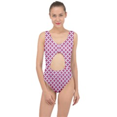 Circles3 White Marble & Pink Denim Center Cut Out Swimsuit