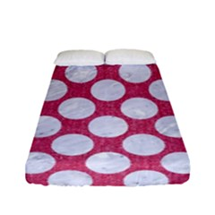 Circles2 White Marble & Pink Denim Fitted Sheet (full/ Double Size)