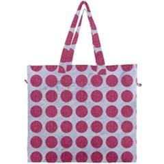 Circles1 White Marble & Pink Denim (r) Canvas Travel Bag by trendistuff