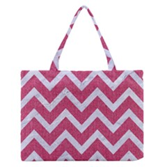 Chevron9 White Marble & Pink Denim Zipper Medium Tote Bag