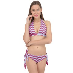 Chevron2 White Marble & Pink Denim Tie It Up Bikini Set