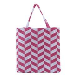 Chevron1 White Marble & Pink Denim Grocery Tote Bag