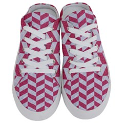 Chevron1 White Marble & Pink Denim Half Slippers