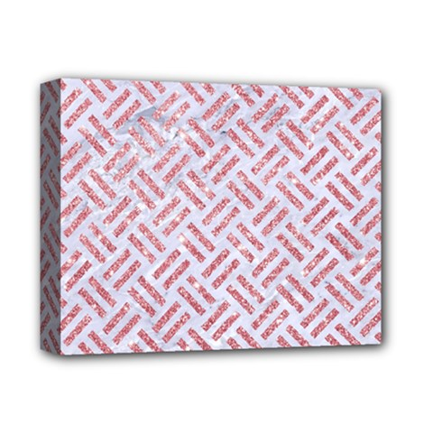 Woven2 White Marble & Pink Glitter (r) Deluxe Canvas 14  X 11