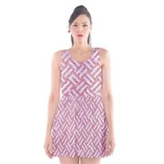 Woven2 White Marble & Pink Glitter Scoop Neck Skater Dress