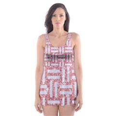 Woven1 White Marble & Pink Glitter Skater Dress Swimsuit by trendistuff