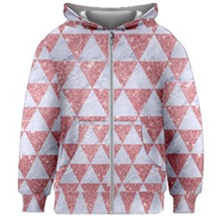 Triangle3 White Marble & Pink Glitter Kids Zipper Hoodie Without Drawstring