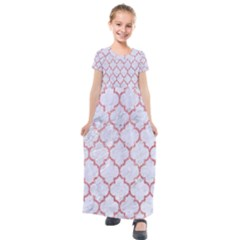 Tile1 White Marble & Pink Glitter (r) Kids  Short Sleeve Maxi Dress