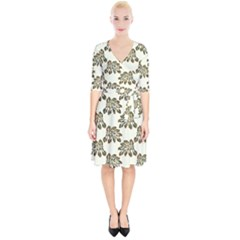 Camouflage Tropical Leaf Wrap Up Cocktail Dress