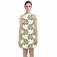Camouflage Tropical Leaf Velvet Halter Neckline Dress  by LoolyElzayat