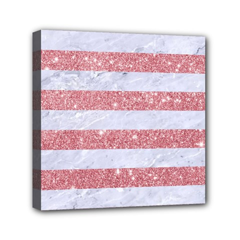Stripes2white Marble & Pink Glitter Mini Canvas 6  X 6  by trendistuff