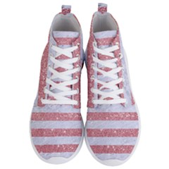 Stripes2white Marble & Pink Glitter Men s Lightweight High Top Sneakers