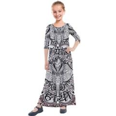Ornate Hindu Elephant  Kids  Quarter Sleeve Maxi Dress