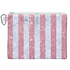 Stripes1 White Marble & Pink Glitter Canvas Cosmetic Bag (xxl) by trendistuff