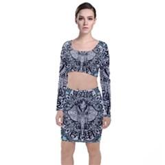 Ornate Hindu Elephant  Long Sleeve Crop Top & Bodycon Skirt Set