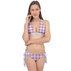 Square2 White Marble & Pink Glitter Tie It Up Bikini Set