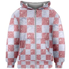Square1 White Marble & Pink Glitter Kids Zipper Hoodie Without Drawstring