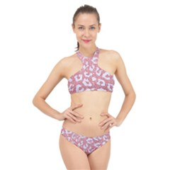 Skin5 White Marble & Pink Glitter (r) High Neck Bikini Set