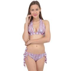 Skin4 White Marble & Pink Glitter Tie It Up Bikini Set